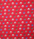 Novelty Cotton Fabric-Red Patterend Paws