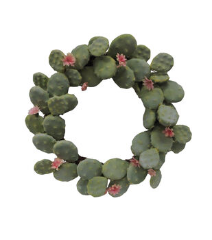 Fresh Picked Spring Desert Aura 19'' Cactus Wreath-Light Green