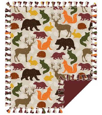 "No Sew Fleece Throw Kit 48""-Woodland Animals Patterns"