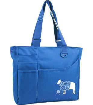 "Knit Happy Unwound Sheep Bright Bag 15""X13""X4""-Blue"