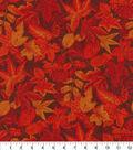 Harvest Cotton Fabric-Burgundy Leaves