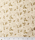 Christmas Cotton Fabric -Holly Scroll