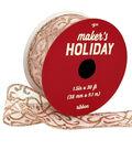 Maker\u0027s Holiday Christmas Ribbon 1.5\u0027\u0027x30\u0027-Rose Gold Glitter Swirls