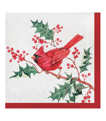 Maker's Holiday 20 pk 6.5'' 2-ply Dinner Napkins-Cardinal Wishes