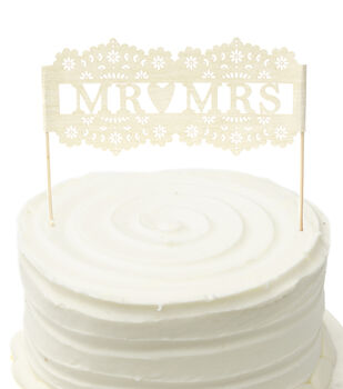 Save the Date 6''x7.5'' Laser Cut Mr & Mrs Cake Topper-White