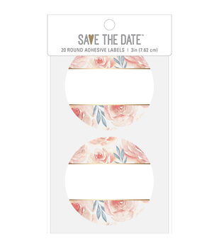 Save the Date 20 pk 3'' Round Adhesive Labels-Floral