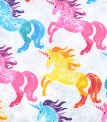 Snuggle Flannel Fabric -Rainbow Unicorns