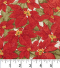 Christmas Cotton Fabric -Packed Poinsettias