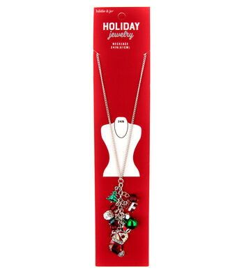 hildie & jo Christmas Holiday Jewelry 24'' Silver Necklace with Charms
