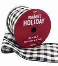 Maker\u0027s Holiday Christmas Ribbon 4\u0027\u0027x40\u0027-Black & White Buffalo Checks