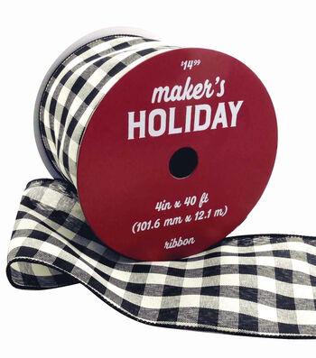 Maker's Holiday Christmas Ribbon 4''x40'-Black & White Buffalo Checks