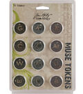 Tim Holtz Idea-Ology Muse Tokens-12PK/Antique Metallic