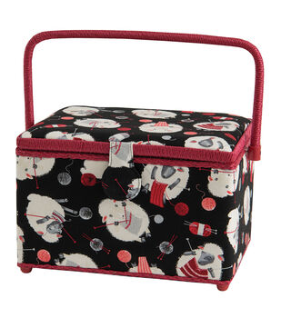 Large Rectangle Sewing Basket with Red Handle-Sheep on Black