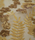 Embroidered Sequin Mesh Fabric 55\u0022-Gold Leaf
