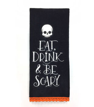 Maker's Halloween 16''x28'' Towel-Eat, Drink & Be Scary