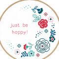 Vervaco 9.6\u0027\u0027 Round Counted Cross Stitch Kit-Modern Flowers & Be Happy!