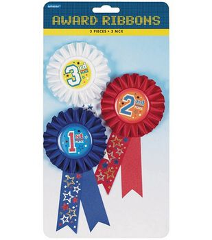 """Award Ribbons 6"""" 3/Pkg-1st/2nd/3rd Place"""