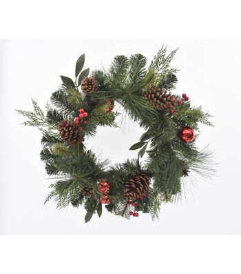 Blooming Holiday 22'' Pine & Pinecone Mixed Wreath with Red Bells