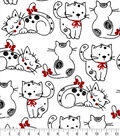 Snuggle Flannel Fabric-Sitting Black Outline Kitty