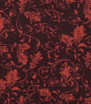 "Harvest Cotton Fabric 44""-Leaf Scrolls on Brown"