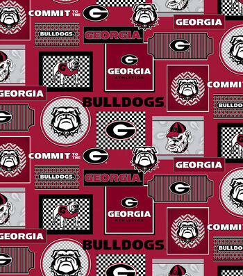 College Teams Georgia Bulldogs Cotton Fabric -Packed Patches