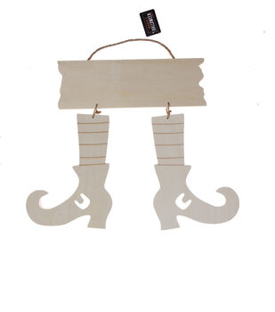 Maker's Halloween Craft Wooden Hanging Witch Boots with Plaque