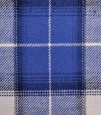 Shirting Cotton Fabric -Blue, Navy & White Ombre Plaid