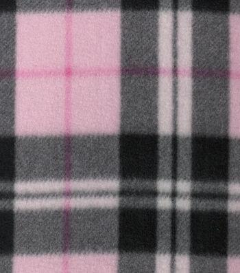 "Blizzard Fleece Fabric 58""-Pink Black Plaid"