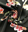 Silky Stretch Chiffon Fabric-Black Multi Folk Floral