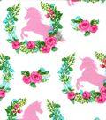 Nursery Flannel Fabric -Unicorn & Floral Spray