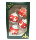 Maker\u0027s Holiday 4ct Glass Reindeer & Snowflakes Ornaments-Red & White
