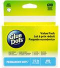 Glue Dots .5\u0022 Permanent Dot Sheets Value Pack-600 Clear Dots