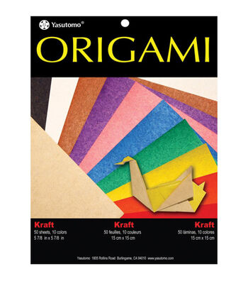 """Fold 'Ems Origami Paper 5.875"""" 50/Pkg- Kraft with Assorted Colors"""