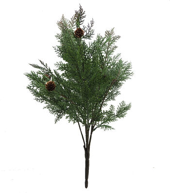 Blooming Holiday Christmas 17'' Cyprus with Pinecone Bush