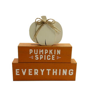 Simply Autumn Stacked Figural Pumpkin Word Block-Pumpkin in Spice