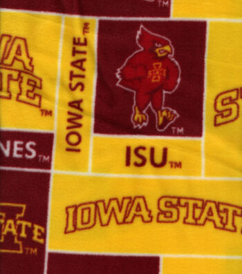 Iowa State University Cyclones Fleece Fabric -Block