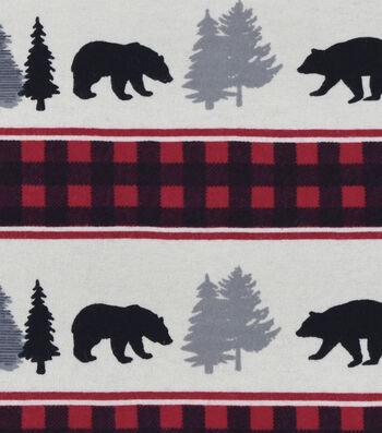 Snuggle Flannel Fabric -Black Bear Buffalo Check Stripe