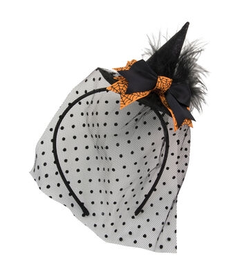 Maker's Halloween Fascinator Witch Hat with Spider Web on Orange Bow