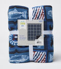 No Sew Fleece Throw 72\u0022-Fish Patch