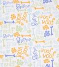 Blizzard Fleece Fabric-Blue and Gold Grr Ruff