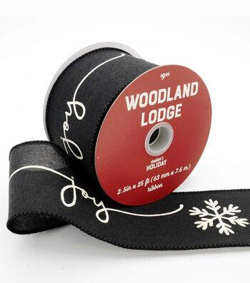 Maker's Holiday Ribbon 2.5''x25'-White Joy & Snowflakes on Black