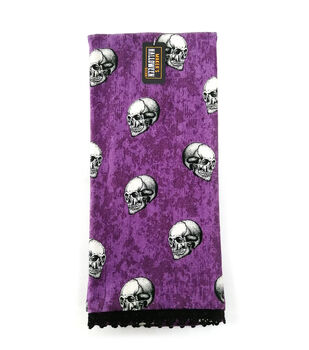 Maker's Halloween Decor 16''x26'' Towel with Trims-Tossed Skulls