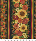 Harvest Cotton Fabric-Large Sunflowers & Stripes