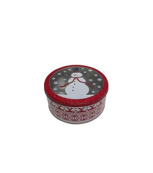 Handmade Holiday Christmas Medium Round Cookie Tin-Snowman