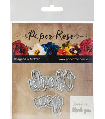 Paper Rose 4 pk Layered Metal Dies-Thank You