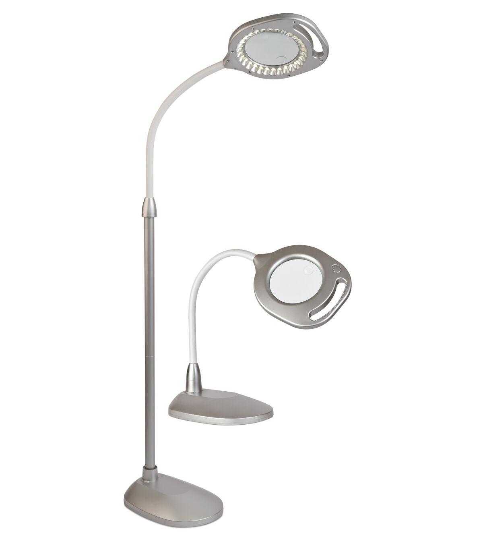 OttLite 2 In 1 LED Magnifier Floor U0026 Table Lamp Silver