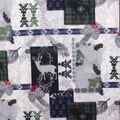 Anti-Pill Plush Fleece Fabric-Larson Deer Navy Green Aztec Patch