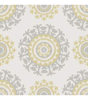 WallPops NuWallpaper Gray and Yellow Suzani Peel And Stick Wallpaper