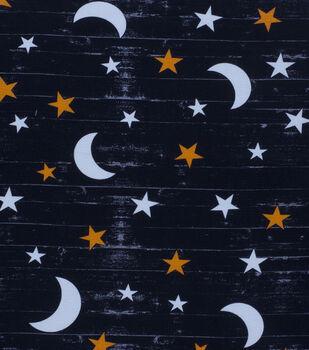 Halloween Cotton Fabric-Large Moon & Stars Glow