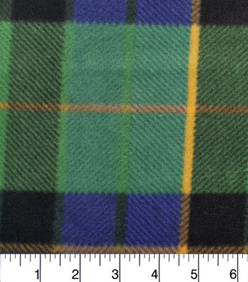 "Anti-Pill Fleece Fabric 59""-Oliver Blue Green Plaid"